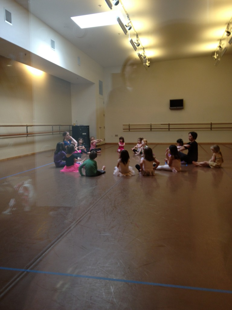 A peek inside Ella's class. They cover the mirrors during the class. I love that. 