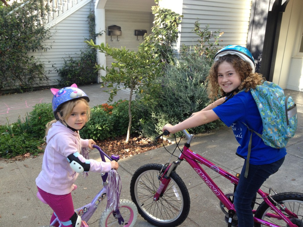 "Ella on Bike to School Day. She biked about 2 miles! ""I did it without breaks! It was easy because I had water!"""